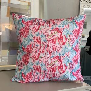 SET OF 2 Coral Reef Throw Pillow pink teal blue